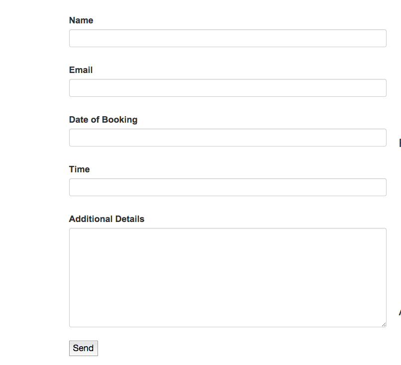 booking form using the ninja forms plugin
