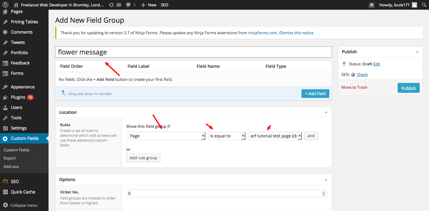 Hello World tutorial on Advanced Custom Field (ACF) WordPress Plugin