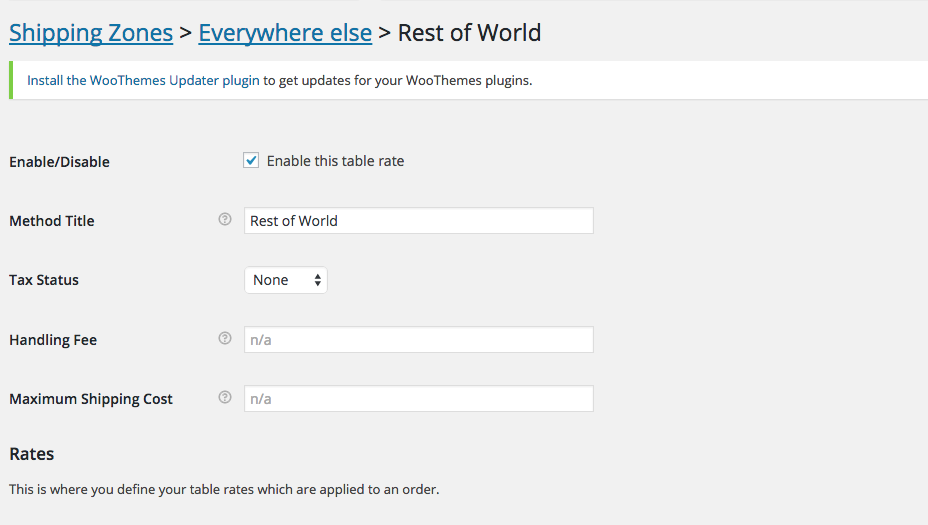 woocommerce configing the table rate plugin