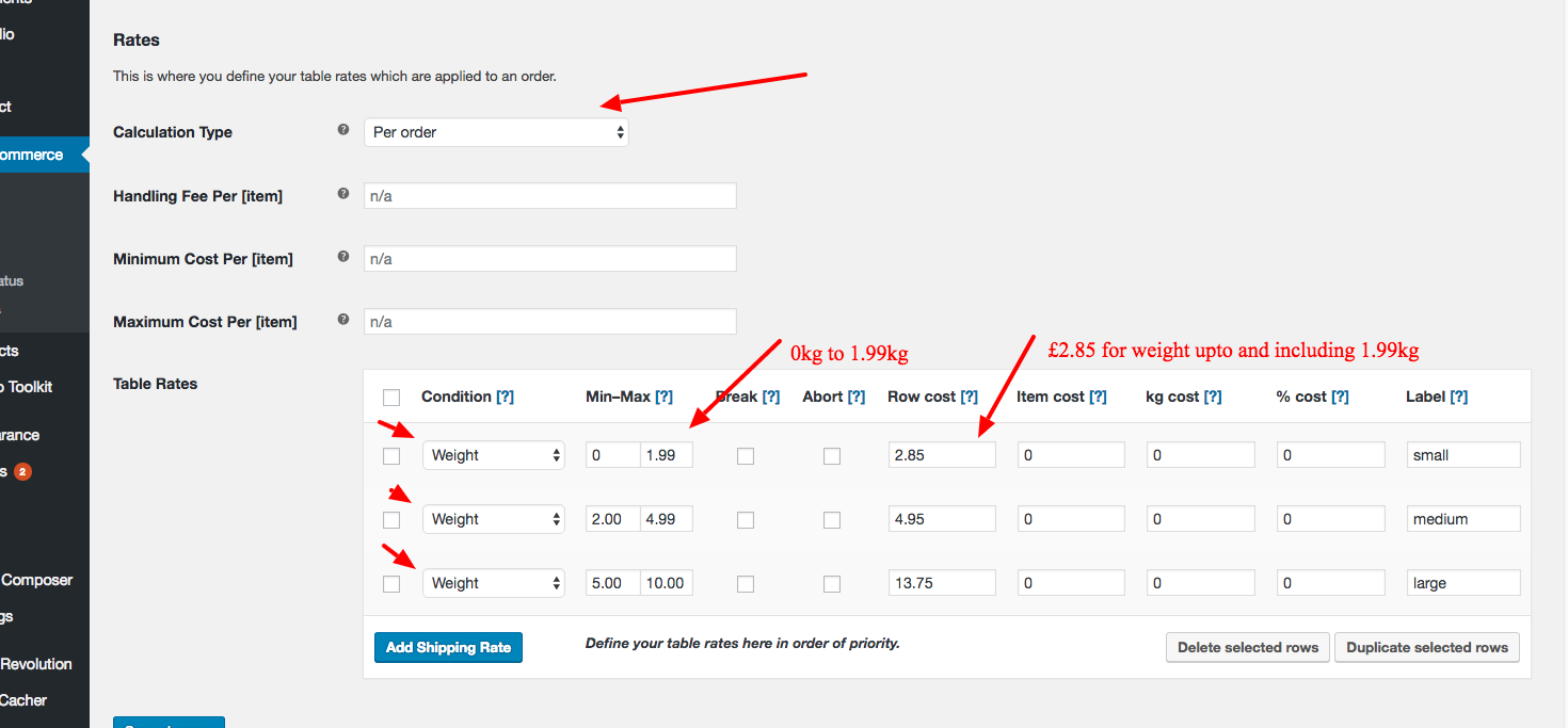 Woocommerce Table Rate Shipping weight example