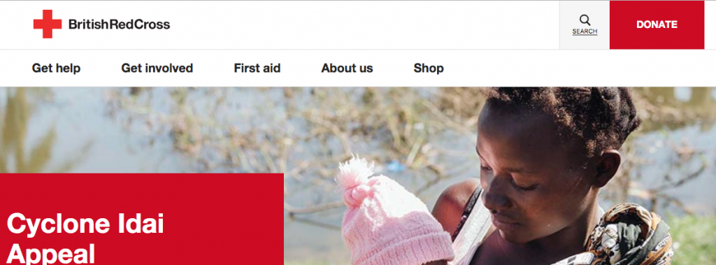 header and navigation from the Red Cross website