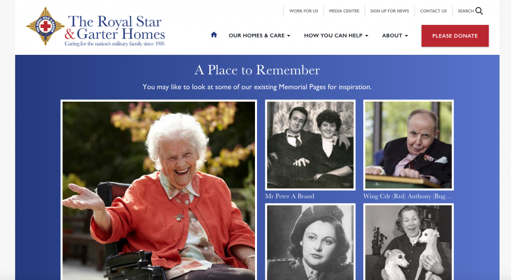 example memorial section on a charity website