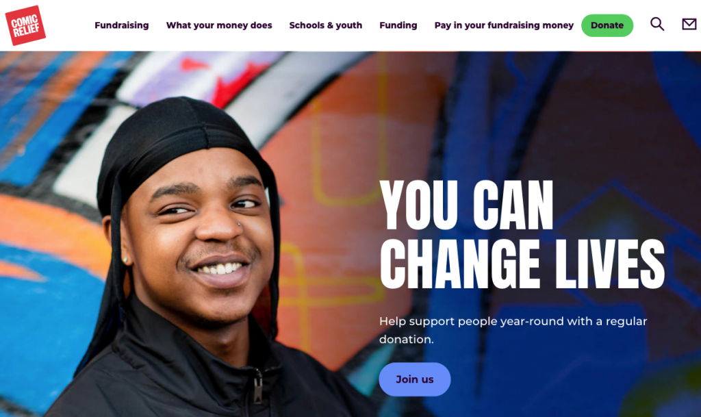 example of a great charity website with engaging image